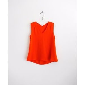 DVF Red Orange Silk 'Sky' Blouse Top sz P XS